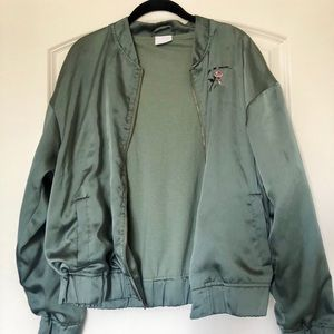 satin green jacket